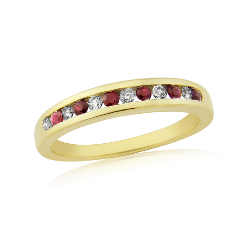 Yellow Gold Ruby And Diamond Channel Set Eternity Ring